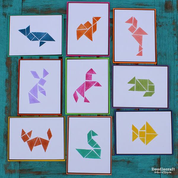 Make a tangram rubber stamp set perfect for handmade cards
