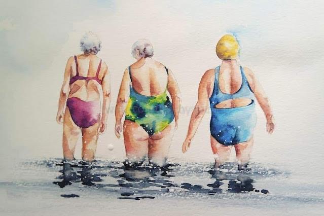 3 ladies in swimsuits