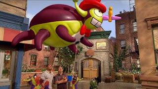 the giant balloon of Stenchy the Stinkbug, Alan, Chris, Oscar the Grouch, Sesame Street Episode 4324 Trashgiving Day season 43