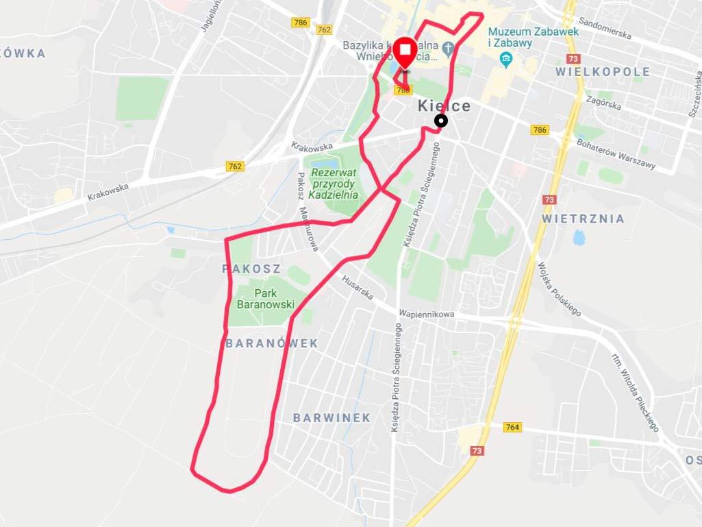 mapa biegu w Kielcach
