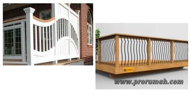 Desain Pagar Balkon Kayu Bergelombang