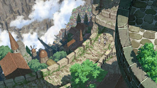 Widok na miasto Orth z anime Made in Abyss
