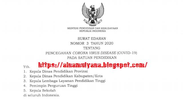 Surat Edaran Mendikbud Nomor 3 Tahun 2020 Tentang Pencegahan Virus Corona