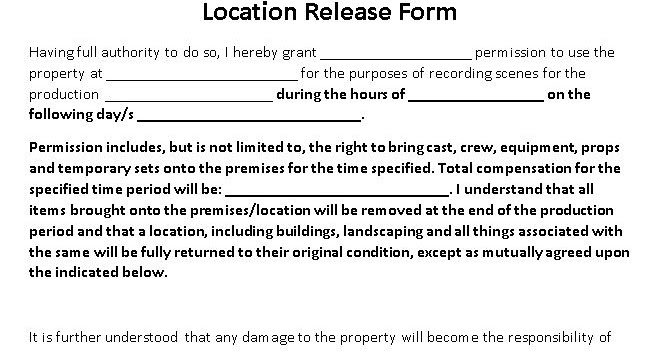 A2 MEDIA STUDIES  Group Work- Location Release Form - Location Release Form