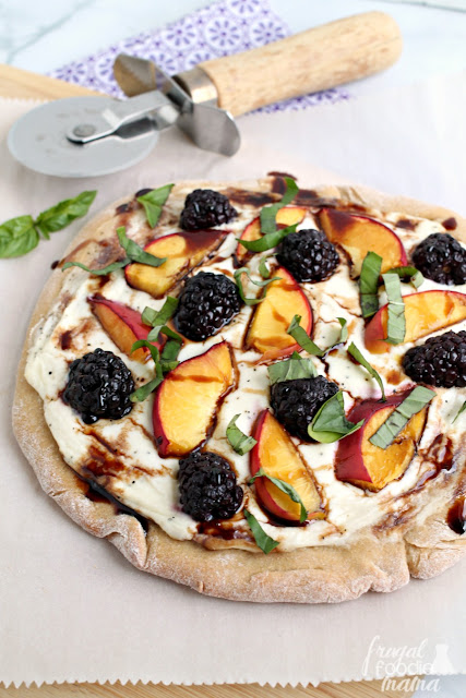 Topped with creamy ricotta & mascarpone cheeses, juicy peaches, & sweet blackberries, these sweet & savory personal sized pizzas are perfect for summertime.