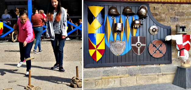 My girls playing a game of hoops and a wall filled with coloured shields
