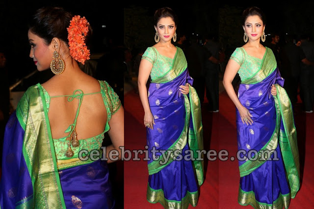 Adaa Khan Blue Silk Saree