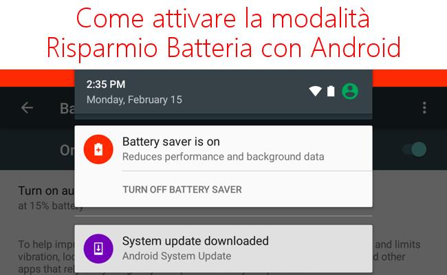 Come attivare la modalità risparmio batteria con Android