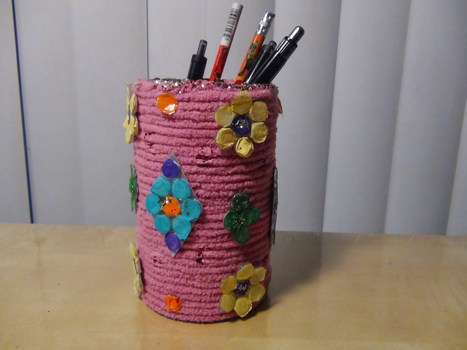 Creative diy crafts diy pen spoon or brush holder with for House made by waste material