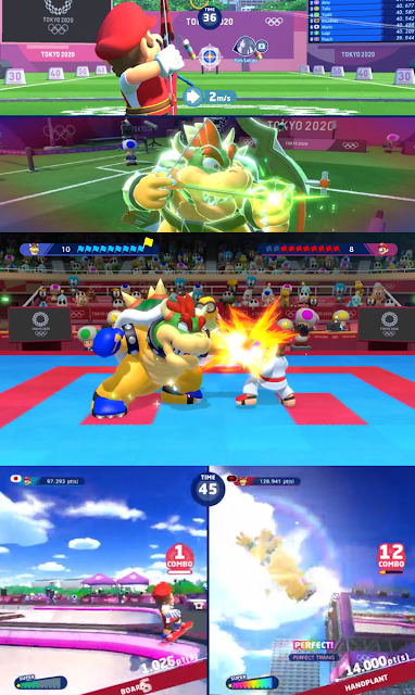 Mario & Sonic at the Olympic Games Tokyo 2020 Bowser archery supershot karate skateboarding tricks