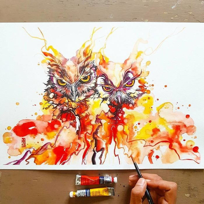 03-Owls-Jongkie-art-Luqman-Reza-Mulyono-Vibrant-Fantasy-Watercolor-Animal-Paintings-www-designstack-co
