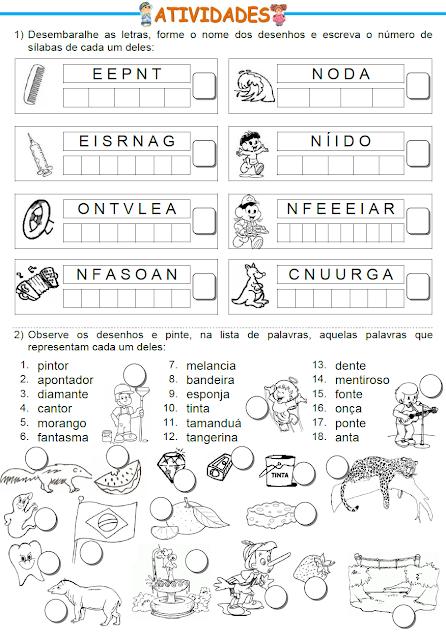 Atividades com palavras que têm VOGAL+N
