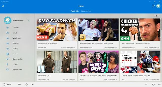 myTube - أفضل تطبيقات يوتيوب في ويندوز 10