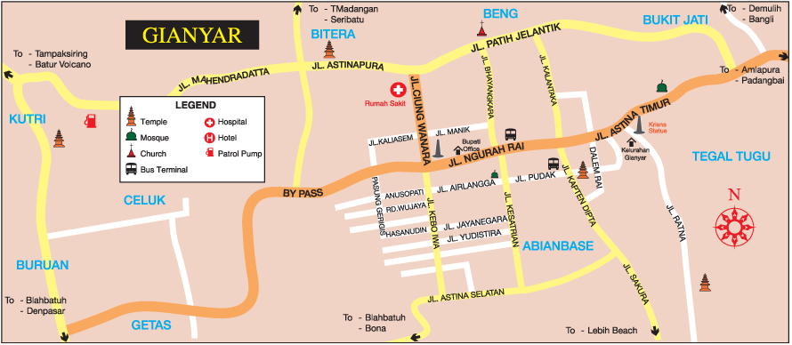 Peta Gianyar Indonesia