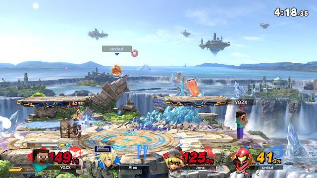 Super Smash Bros. Ultimate Min Min Steve Small Battlefield teams match steak taunt