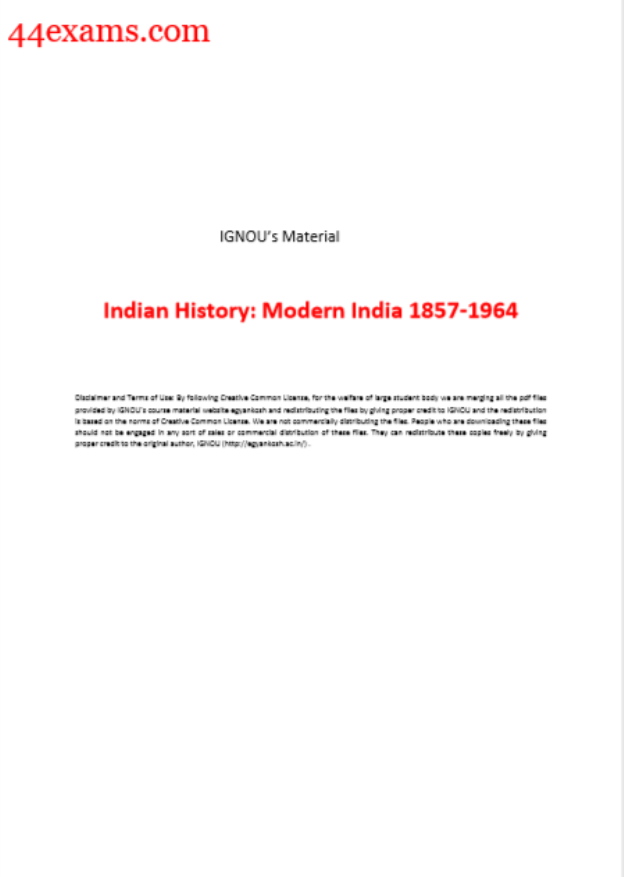 Modern History of India 1857-1964 by IGNOU : For UPSC Exam PDF Book