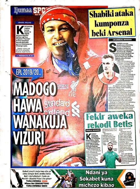 Tanzanian Today's Newspapers MAGAZETI YA LEO Friday 26th July, 2019