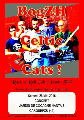 Affiche du concert du groupe breton  BogzH Celtic Cats! Carquefou 28 mai