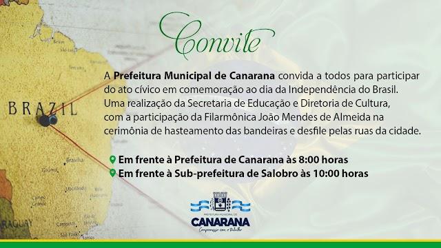 A Prefeitura Municipal de Canarana convida a todos para participar de ato cívico no municipio