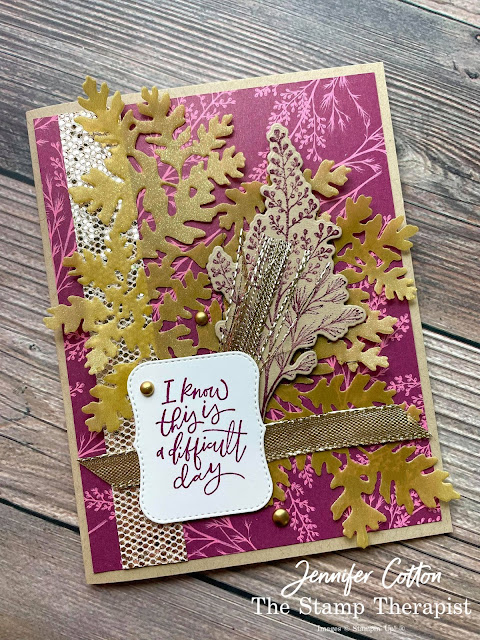 Stampin' Up!'s Beauty of Tomorrow bundle; Gold Shimmer Vellum; Blackberry Beauty 12x12 Specialty DSP; Be Dazzling Sale a Bration August-September 2021; Gold Shimmer Ribbon; Potted Succulents Dies; Brushed Metallic Adhesive Backed Dots; Brushed Metallic Adhesive Backed Dots.  #StampinUp #StampTherapist