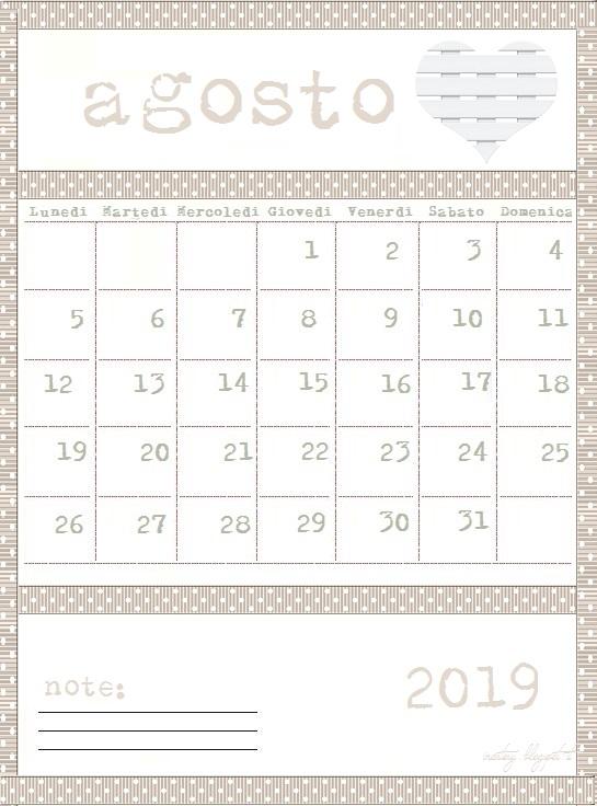 Pagina Calendario Agosto 2019.Calendario Stampabile Mese Agosto 2019 Inartesy