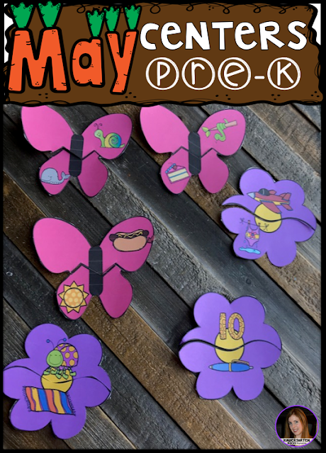 Are you looking for fun hands on centers for your pond, insects and spring themed activities? The Preschool End of the Year Spring Centers for May is sure to keep their interest and will help build important literacy, math and writing (fine-motor) skills. Like this rhyming flower puzzle activity.