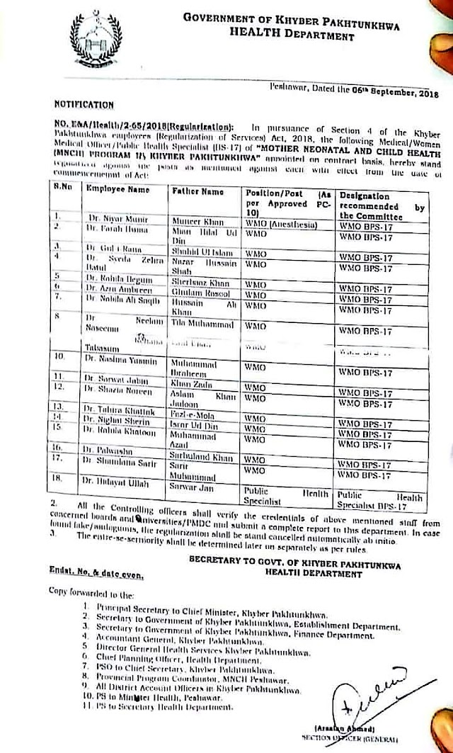 NOTIFICATION REGARDING REGULARIZATION OF WMOs / PUBLIC HEALTH SPECIALIST OF MOTHER NEONATAL AND CHILD HEALTH (MNCH) PROGRAM OF KHYBER PAKHTUNKHWA