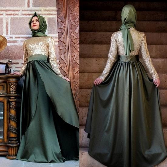 فستان سهرة اخضر اللون للمحجبات موديل 2020