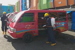 Polda Maluku Semprot Pasar dan Terminal Mardika