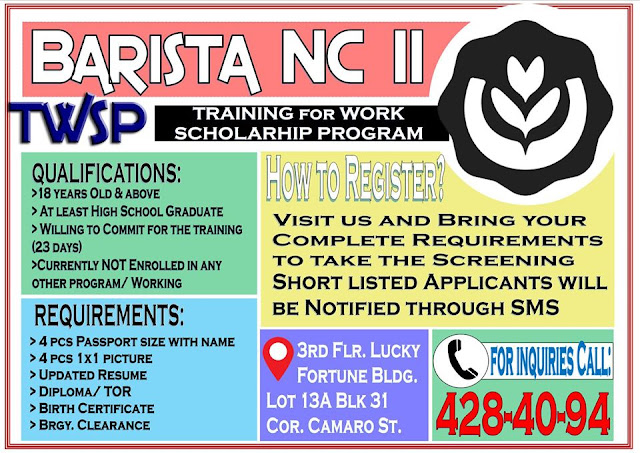 Free Barista training by TESDA CBTA  | TWSP