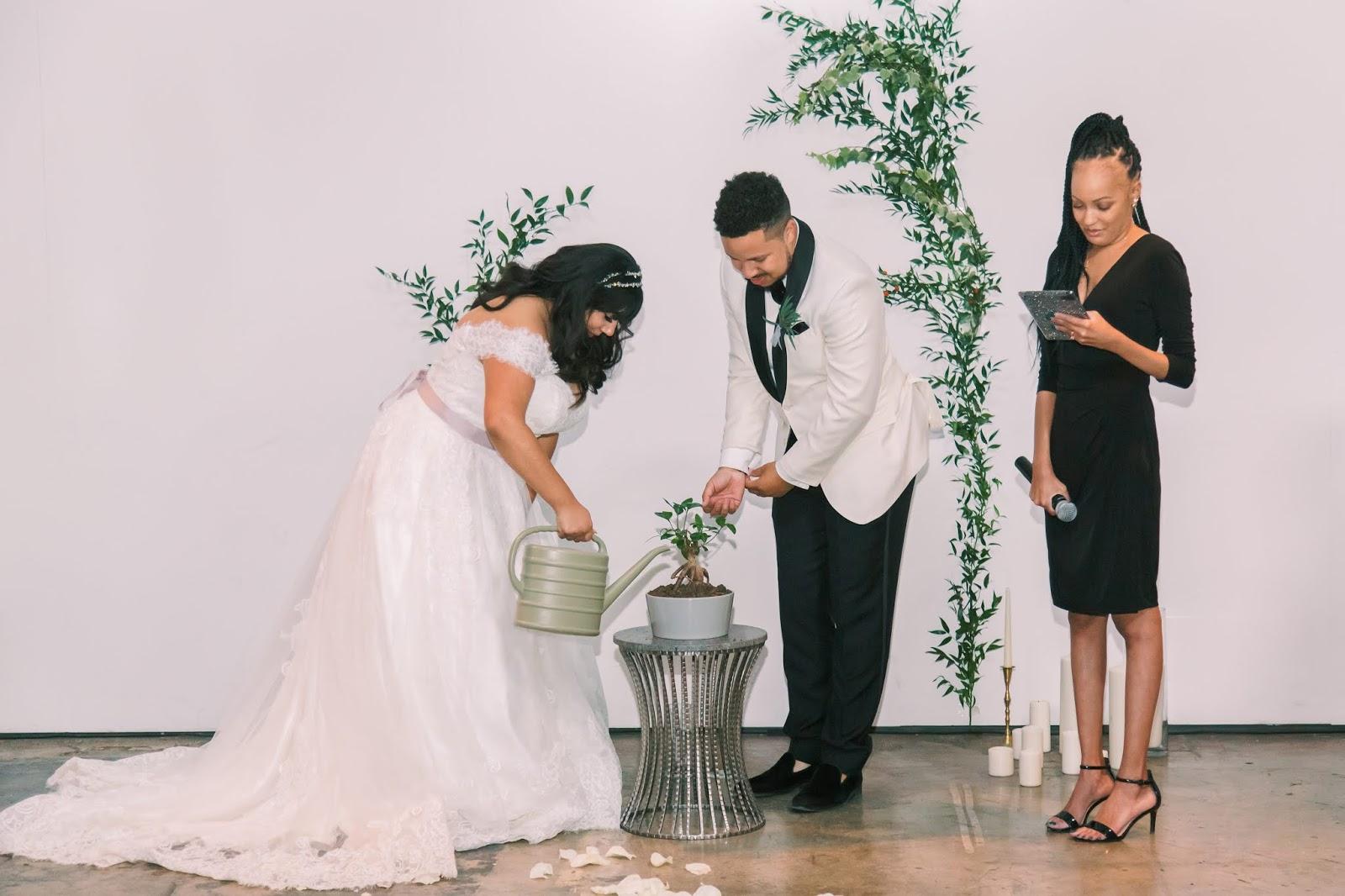 african american wedding officiant, las vegas wedding, tree planting