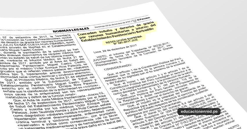 Es oficial el indulto a expresidente Alberto Fujimori (R. S. Nº 281-2017-JUS)