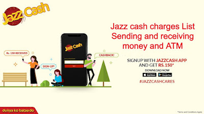 Jazz cash charges List  Sending and receiving money and ATM