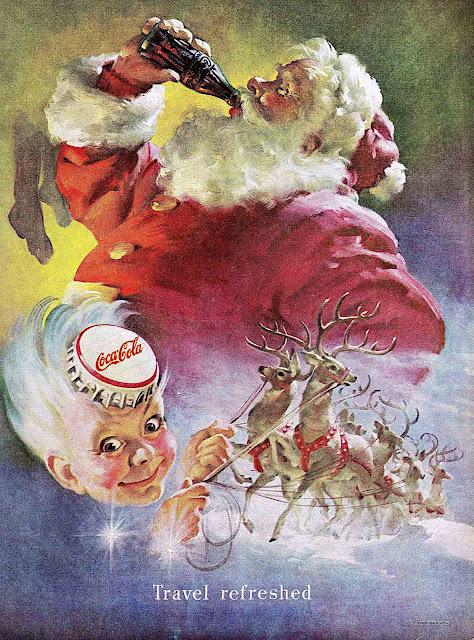 a Haddon H. Sundblom illustration of Coca Cola Santa Clause