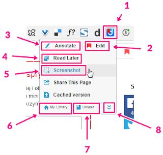 Diigo - opis menu wtyczki do przeglądarki