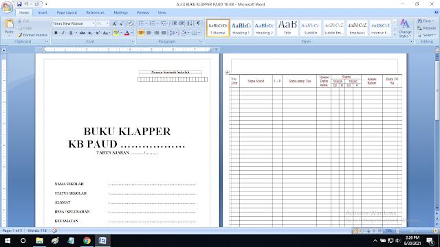 Buku Klapper Paud TK KB TPA SPS RA Format doc