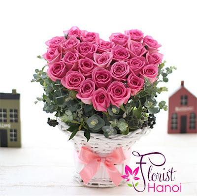 Beautiful heart shaped pink rose