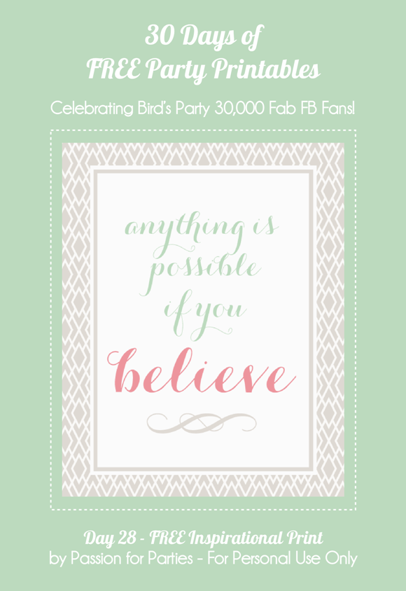 Free Printable Believe Inspirational Art Print  - via BirdsParty.com
