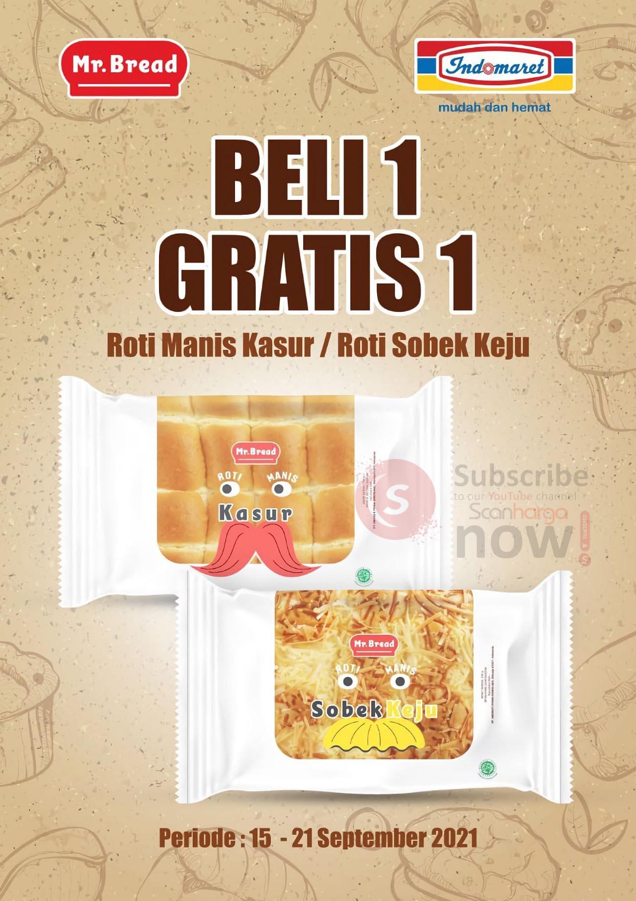Promo Mr Bread Roti Indomaret Beli 1 Gratis 1 Periode 15 - 21 September 2021