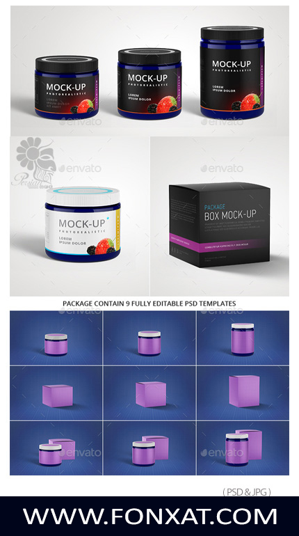 Download PSD template preview package, box jam along with texture flooring