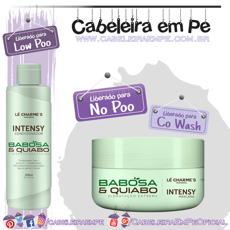 Condicionador (Low Poo) e Máscara (No Poo) Intensy Babosa e Quiabo - Lé Charme's