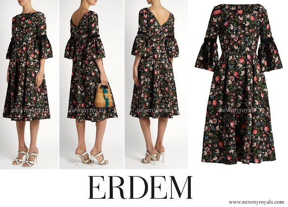 Crown Princess Mette-Marit wore ERDEM Aleena floral-print matelasse dress
