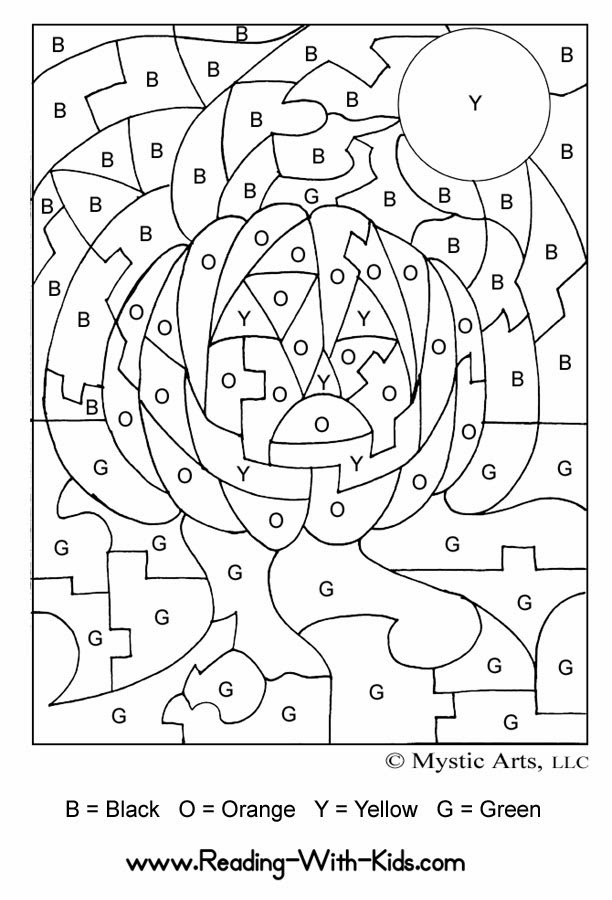 halloween coloring pages color by number | FREE COLORING PAGES
