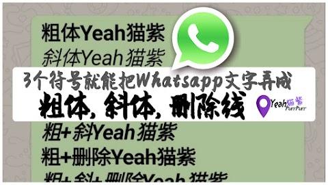 【老紫学电脑#03】用对3个符号就能把Whatsapp里的文字弄成粗体Bold, 斜体Italic & 删除线Strike