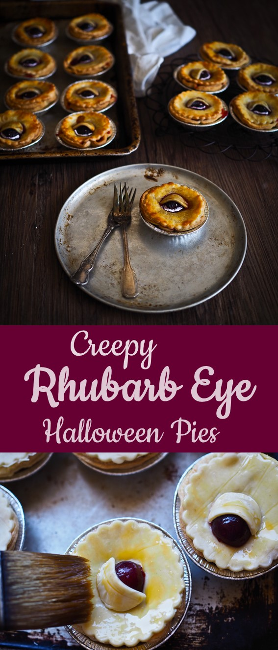 "Creepy Rhubarb ""Eye"" Pies #Halloween #Pie #Cake"
