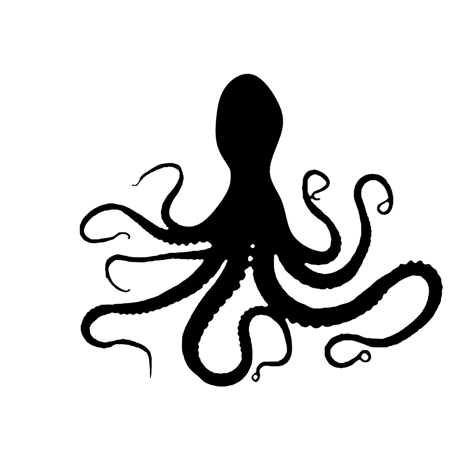 Illustration of octopus tentacle silhouette