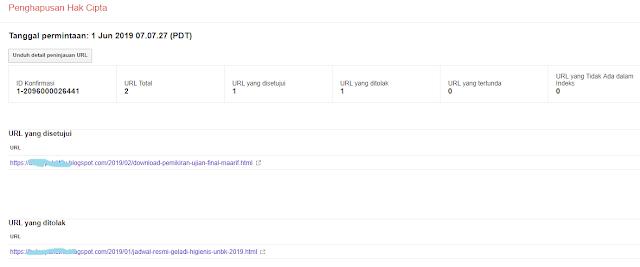 bukti persetujuan google DMCA