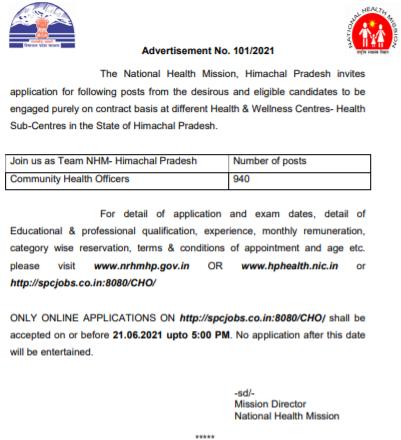 NHM HP CHO Recruitment 2021 online form