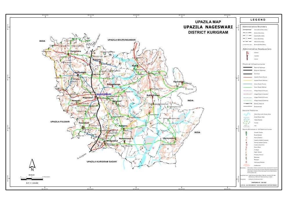 Nageshwari Upazila Map Kurigram District Bangladesh