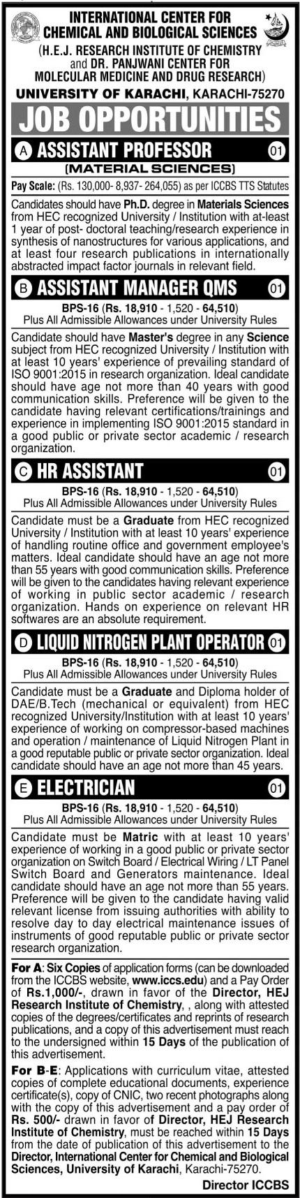 University of Karachi Jobs 2021 in Karachi
